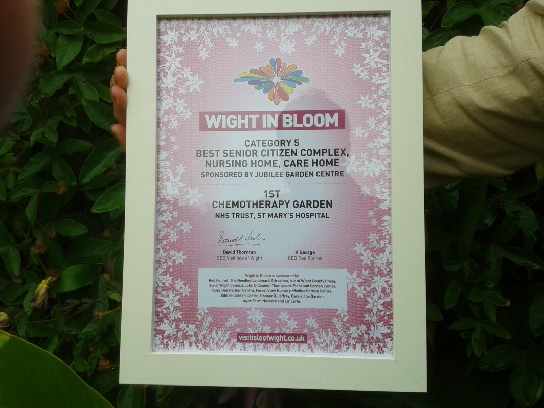 Well done team! Our Chemotherapy garden won 1st place in Category 5 for 'Wight in Bloom 2015'.